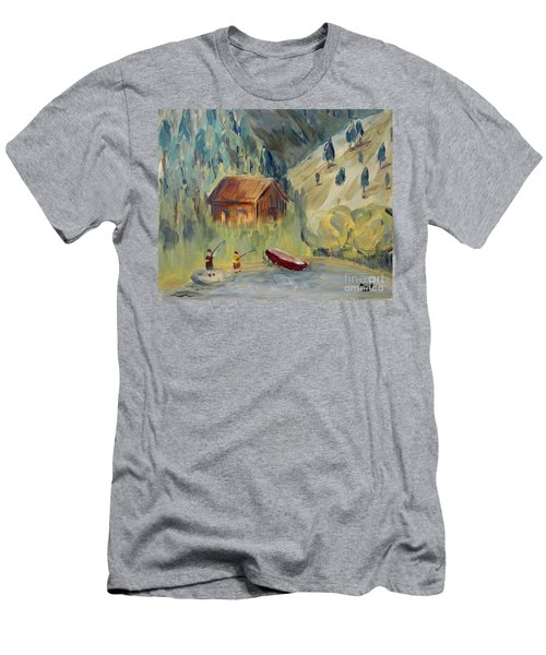 Men's T-Shirt (Athletic Fit) featuring the painting On The Lake by Maria Langgle