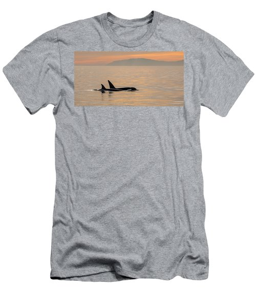 Orcas Off The California Coast Men's T-Shirt (Athletic Fit)