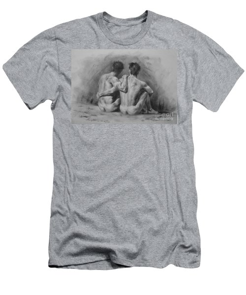 Original Drawing Sketch Charcoal Chalk Male Nude Gay Man Art Pencil On Paper By Hongtao Men's T-Shirt (Slim Fit) by Hongtao     Huang