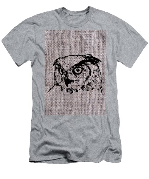 Owl On Burlap Men's T-Shirt (Athletic Fit)