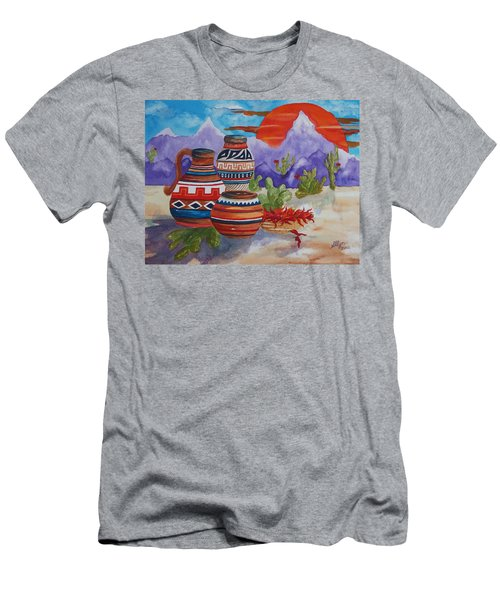 Painted Pots And Chili Peppers Men's T-Shirt (Slim Fit) by Ellen Levinson