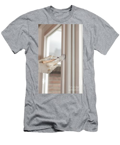 Painting A Window With White Men's T-Shirt (Athletic Fit)