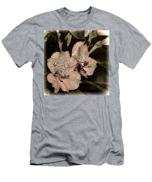 Pale Pink Lilies On Dark Background Men's T-Shirt (Athletic Fit)