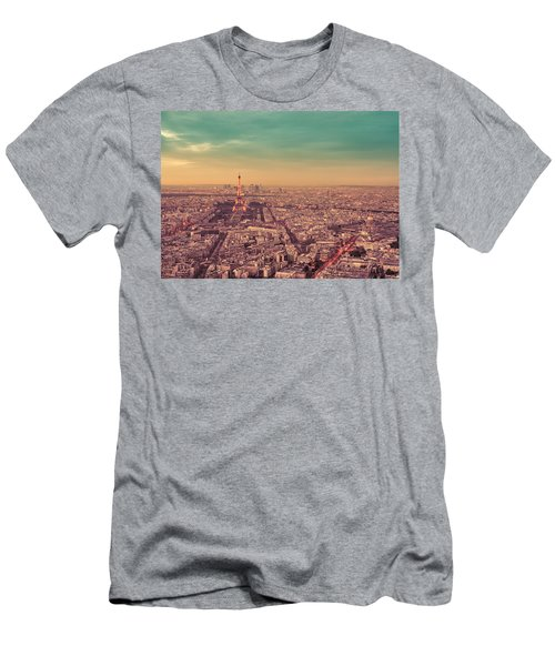 Paris - Eiffel Tower And Cityscape At Sunset Men's T-Shirt (Athletic Fit)