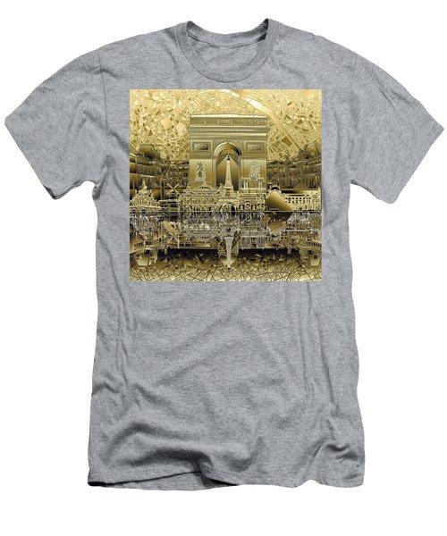 Paris Skyline Landmarks 4 Men's T-Shirt (Athletic Fit)