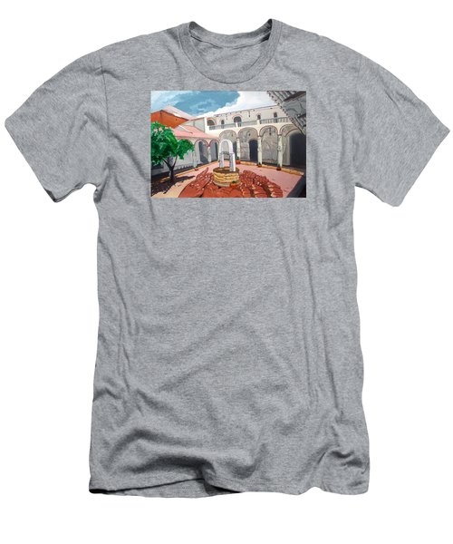 Men's T-Shirt (Slim Fit) featuring the painting Patio Colonial by Lazaro Hurtado