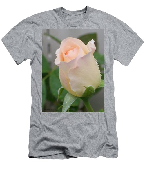 Men's T-Shirt (Slim Fit) featuring the photograph Fragile Peach Rose Bud by Belinda Lee