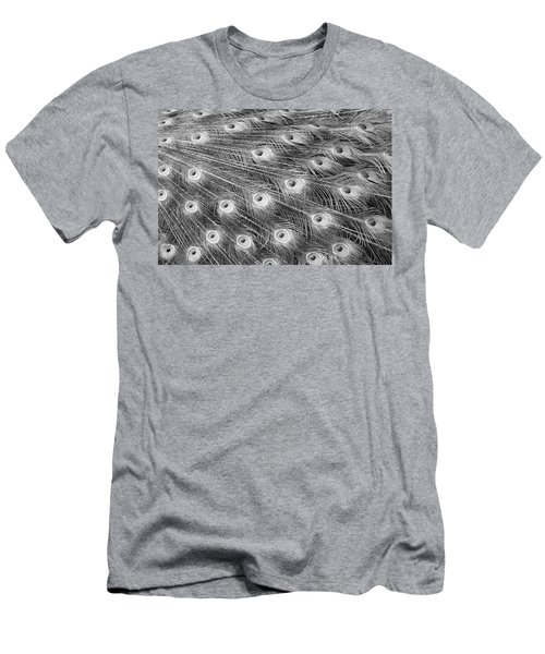 Men's T-Shirt (Slim Fit) featuring the photograph Peacock Feather Fiesta - Black And White by Diane Alexander