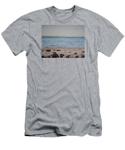 Men's T-Shirt (Slim Fit) featuring the painting Pelicans At El Capitan by Ian Donley