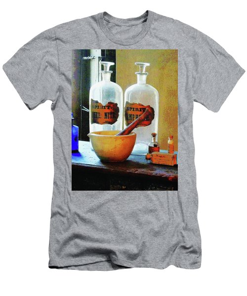 Pharmacist - Mortar And Pestle With Bottles Men's T-Shirt (Slim Fit) by Susan Savad