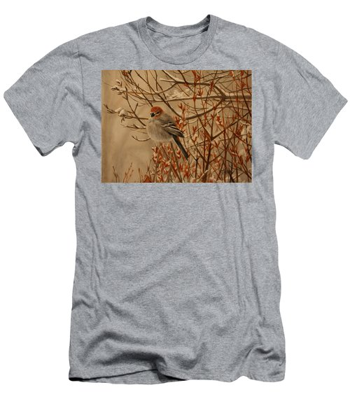 Men's T-Shirt (Athletic Fit) featuring the painting Pine Grosbeak by Tammy Taylor