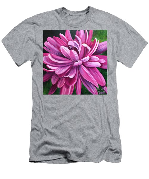 Pink Flower Fluff Men's T-Shirt (Slim Fit) by Debbie Hart