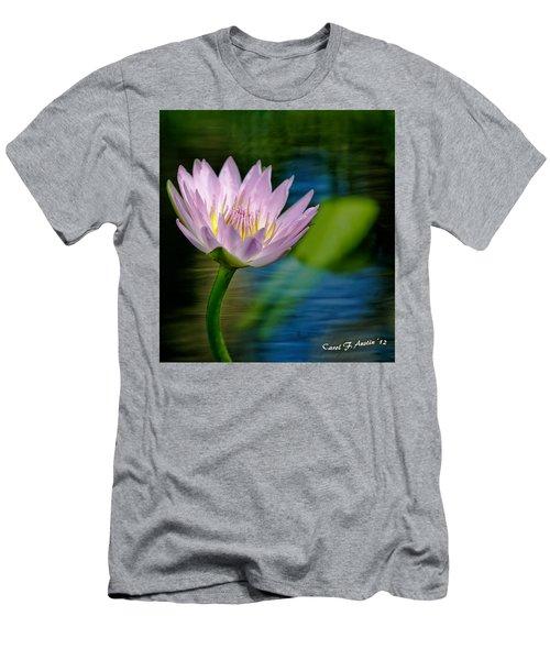 Purple Petals Lotus Flower Impressionism Men's T-Shirt (Slim Fit) by Carol F Austin