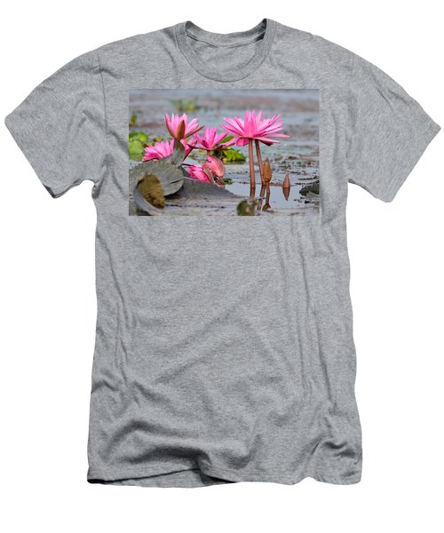 Pink Lotuses Men's T-Shirt (Slim Fit) by Fotosas Photography