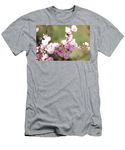 Pink Plum Branch On Green 2 Men's T-Shirt (Athletic Fit)