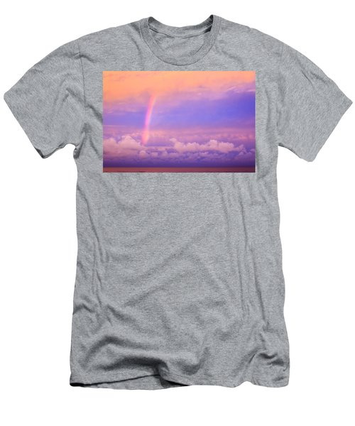 Men's T-Shirt (Slim Fit) featuring the photograph Pink Sunset Rainbow by Peta Thames