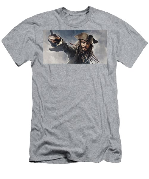Pirates Of The Caribbean Johnny Depp Artwork 2 Men's T-Shirt (Slim Fit)