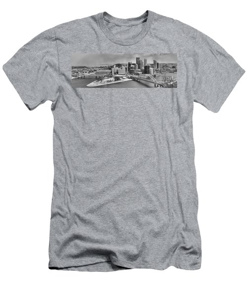 Pittsburgh Black And White Winter Panorama Men's T-Shirt (Athletic Fit)