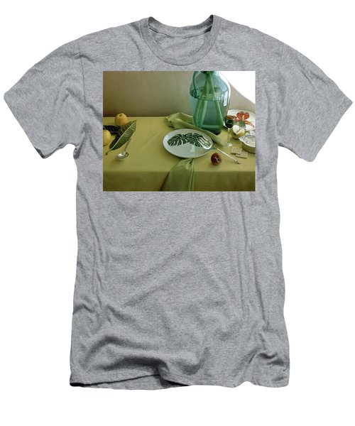 Plates, Apples And A Vase On A Green Tablecloth Men's T-Shirt (Athletic Fit)