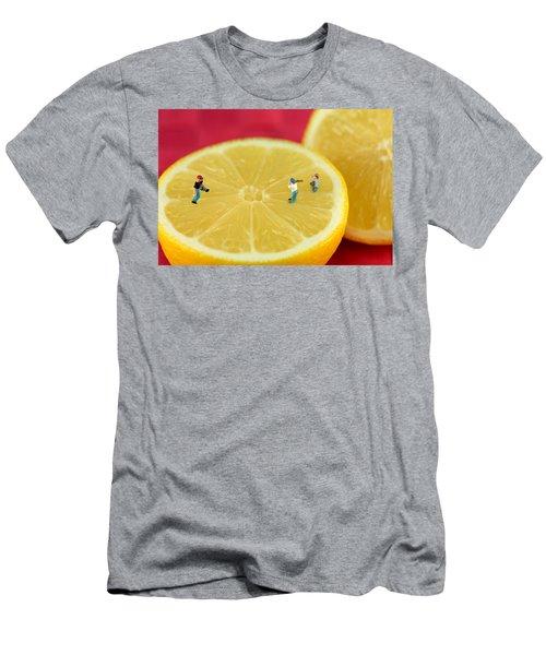 Playing Baseball On Lemon Men's T-Shirt (Athletic Fit)