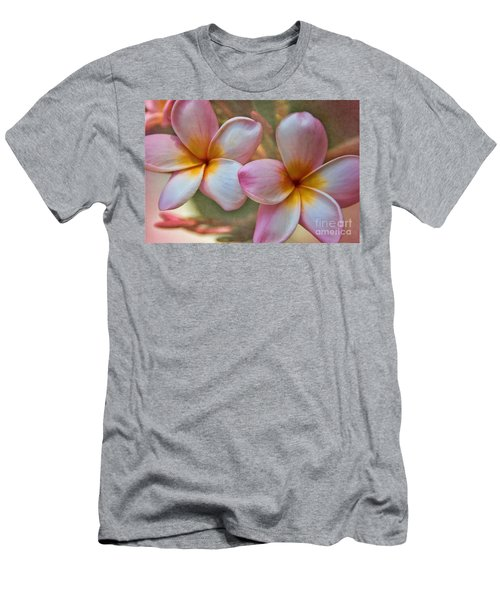 Men's T-Shirt (Slim Fit) featuring the photograph Plumeria Pair by Peggy Hughes