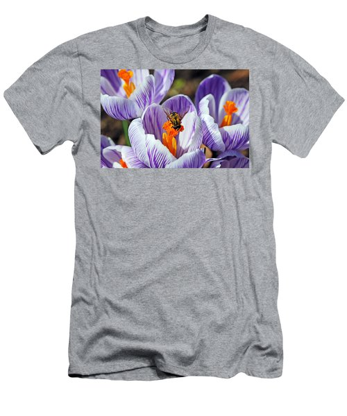 Men's T-Shirt (Slim Fit) featuring the photograph Popping Spring Crocus by Debbie Oppermann