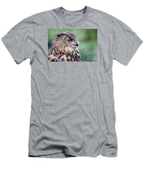 Men's T-Shirt (Slim Fit) featuring the photograph Portrait Of A Great Horned Owl by Jim Fitzpatrick