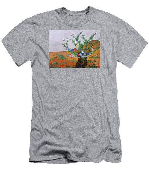 Men's T-Shirt (Slim Fit) featuring the painting Prayer Flags by Deborha Kerr