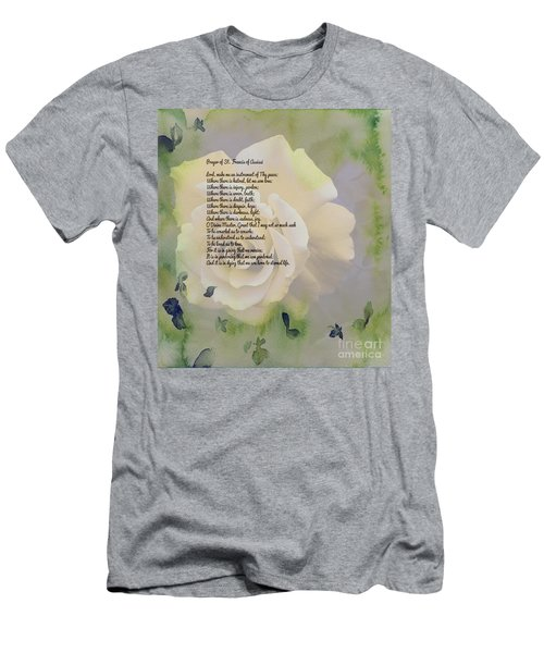 Prayer Of St. Francis And Yellow Rose Men's T-Shirt (Slim Fit) by Barbara Griffin