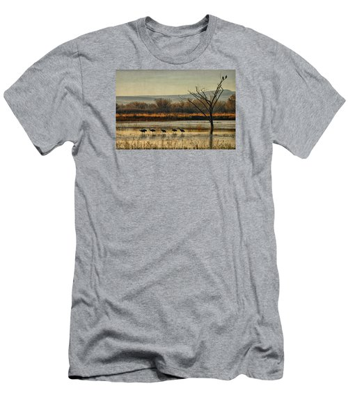 Men's T-Shirt (Slim Fit) featuring the photograph Promenade Of The Cranes by Priscilla Burgers