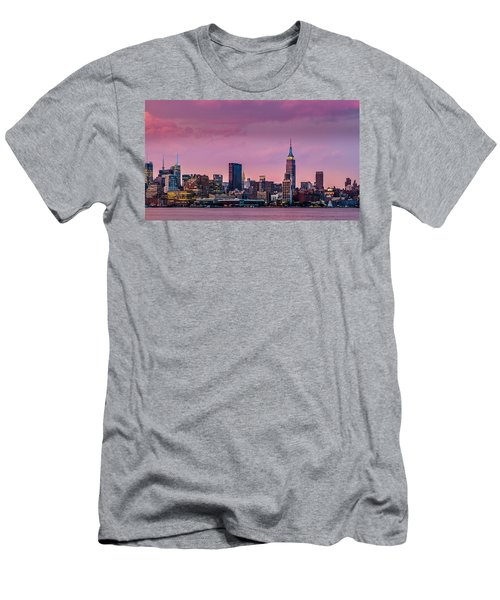 Men's T-Shirt (Slim Fit) featuring the photograph Purple City by Mihai Andritoiu