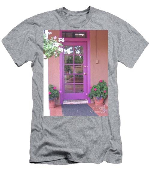 Men's T-Shirt (Slim Fit) featuring the photograph Purple Door by Dora Sofia Caputo Photographic Art and Design