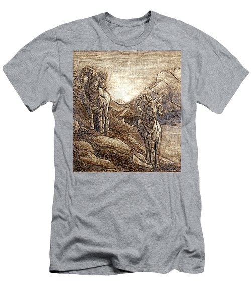 Men's T-Shirt (Slim Fit) featuring the relief Rams Relief by Wendy McKennon