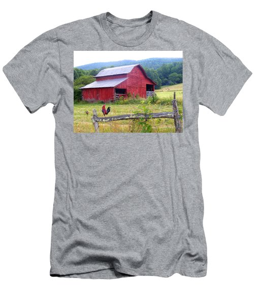 Red Barn And Rooster Men's T-Shirt (Athletic Fit)