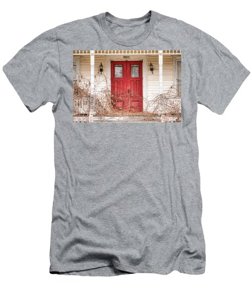 Red Doors - Charming Old Doors On The Abandoned House Men's T-Shirt (Athletic Fit)