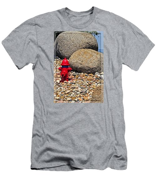 Men's T-Shirt (Slim Fit) featuring the photograph Red Fire Hydrant On Rocky Hillside by Ella Kaye Dickey