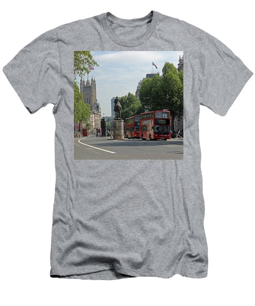 Red London Bus In Whitehall Men's T-Shirt (Athletic Fit)