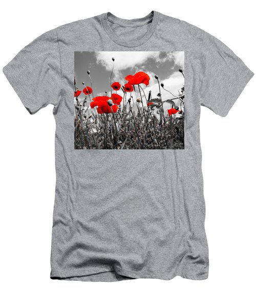 Red Poppies On Black And White Background Men's T-Shirt (Athletic Fit)