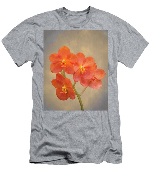 Red Scarlet Orchid On Grunge Men's T-Shirt (Athletic Fit)