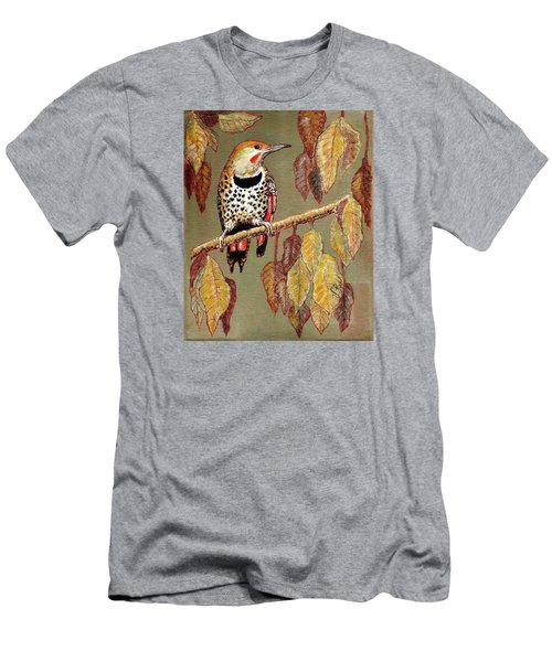 Men's T-Shirt (Slim Fit) featuring the painting Red Shafted Flicker by VLee Watson