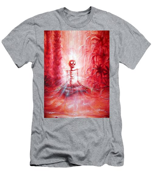 Red Skeleton Meditation Men's T-Shirt (Athletic Fit)