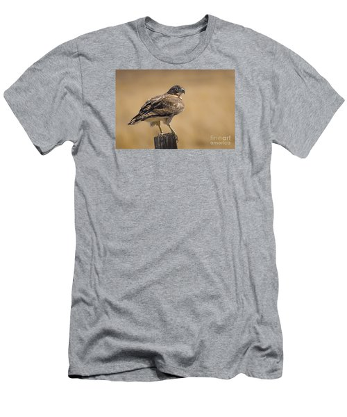Men's T-Shirt (Slim Fit) featuring the photograph Red Tailed Hawk Watching by Janis Knight