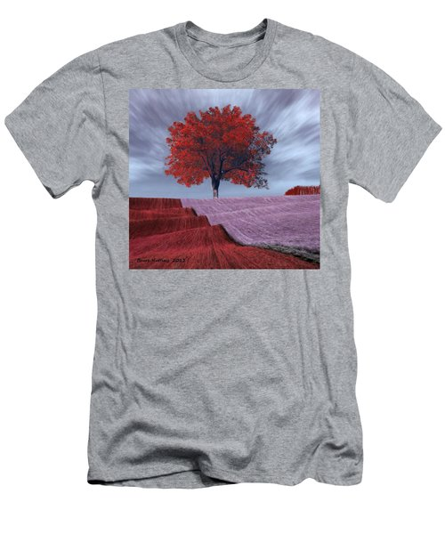 Men's T-Shirt (Slim Fit) featuring the painting Red Tree In A Field by Bruce Nutting