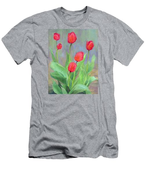 Red Tulips Colorful Painting Of Flowers By K. Joann Russell Men's T-Shirt (Slim Fit) by Elizabeth Sawyer