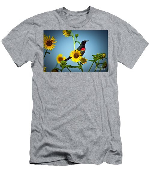 Redwing In Sunflowers Men's T-Shirt (Athletic Fit)