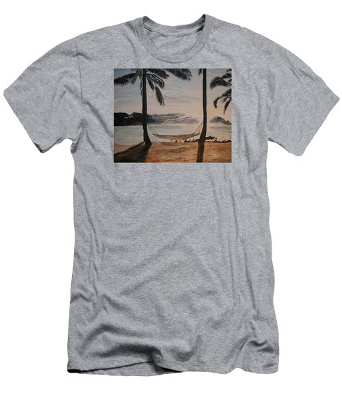 Men's T-Shirt (Slim Fit) featuring the painting Relaxing At The Beach by Ian Donley