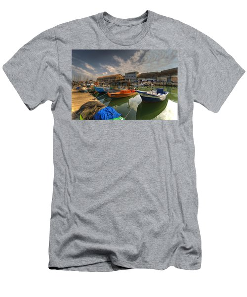 resting boats at the Jaffa port Men's T-Shirt (Athletic Fit)