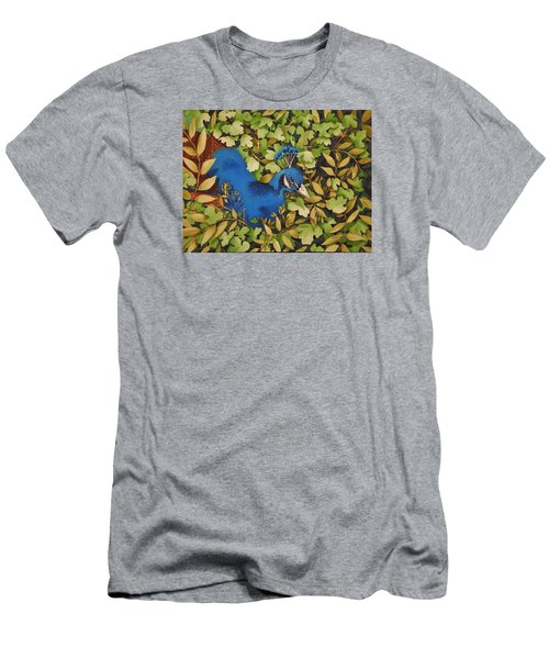 Resting Peacock Men's T-Shirt (Slim Fit) by Katherine Young-Beck