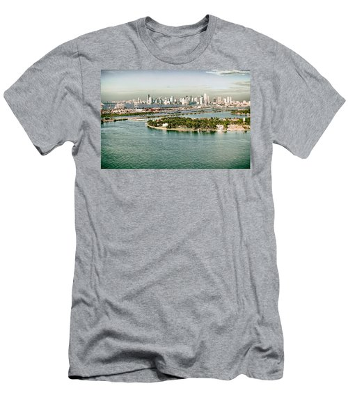 Retro Style Miami Skyline And Biscayne Bay Men's T-Shirt (Athletic Fit)