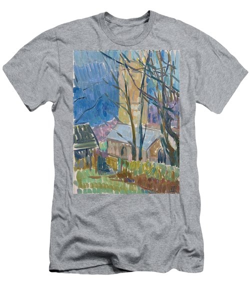 Reverend Hawkers Church At Morwenstow IIi Oil On Canvas Men's T-Shirt (Athletic Fit)